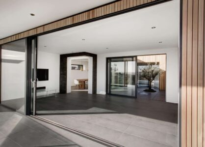 Slimline sliding doors in new build house.