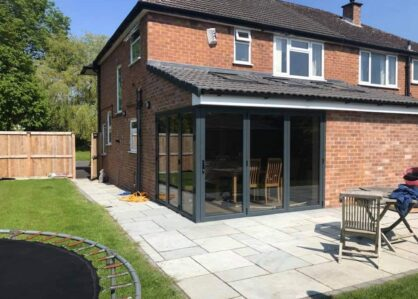 picture of bifold doors with open corner in a new house