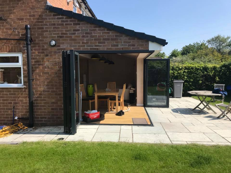 open corner bifolding and sliding doors in a new extension