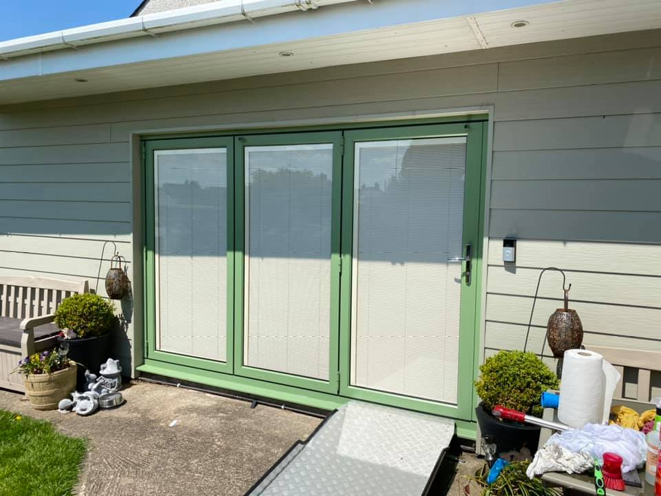 Bifolding doors with integral blinds in Anglesey