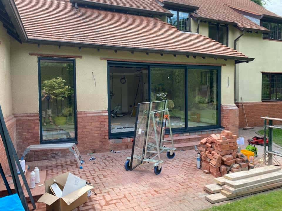 sunflex patio doors in a new extension with matching window
