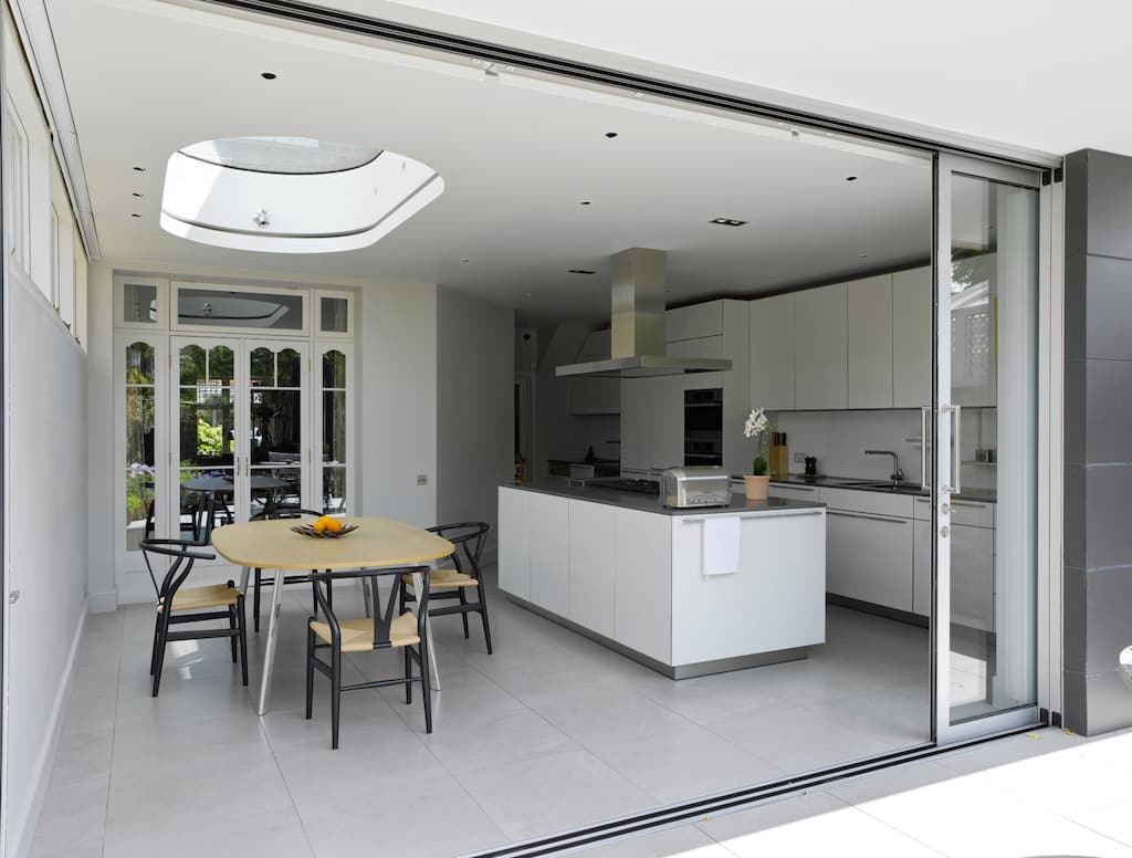 Sunflex pocket sliding doors disappearing into a wall